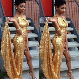 $enCountryForm.capitalKeyWord Australia - custom Made Sparkling Gold Sequin Mermaid Prom Party Dreses Sexy side split floor Length Formal Evening Wears
