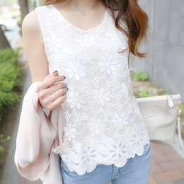 sleeveless tops office NZ - Women Blouses Shirts Summer Office Sleeveless White Lace Blouse Ladies Tops Blusa Vest Shirt Camisa Mujer Plus Size 6xl Y19062601