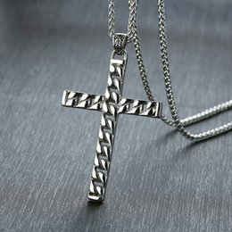 free crucifix pendant Australia - Free shipping top quality 316L stainless steel Christian Cross necklaces Jesus crucifix pendants religious necklace wholesale 1254