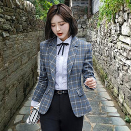 plaid jackets for women Canada - 2020 Plus Size Spring Autumn Suit Jacket Female Long-sleeved retro Slim gray plaid Short Blazers Suits for Women Outerwear g357