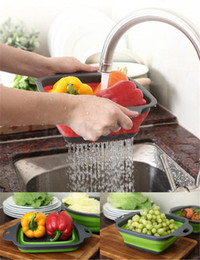 Vente en gros Creative Pliage Fruit Panier Cuisine Cuisine Square 4 Couleurs Télescopique Fruit Fruit Trash Panier De Stockage Panier de vidange Paniers à laver DA197