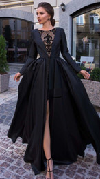 Picture Pattern NZ - Stylish Arabic Formal Evening Dresses New 2019 Sexy Front High Slit Pattern Lace Applique Long Sleeves Designer Prom Dresses Floor Length