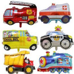 $enCountryForm.capitalKeyWord Australia - Cartoon Balloon Kid Toy Ambulance Police Car School Bus Train Truck Balloon Boy Toy Aluminum Foil Balloon Party Decoration HI011