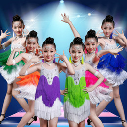 Girls Dancewear Costumes NZ - NEW Latin dance dress for children competition girls salsa dancewear stage skirt samba junior ballroom Sequined Tassels costumes