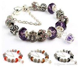 royal crown charm UK - 20 Charm Bracelet 925 Silver plated Bracelets Royal Crown Accessories Purple Crystal Bead Diy Wedding Jewelry