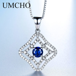 $enCountryForm.capitalKeyWord Australia - Umcho Luxury 925 Sterling Silver Necklaces & Pendants Created Blue Sapphire Necklace For Women Anniversary Gifts With Box Chain T190702