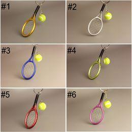 $enCountryForm.capitalKeyWord Australia - Free DHL Fashion Mini Tennis Racket Keychain Sport Tennis Ball Keychains Car Key Ring Bag Pendant Keyring Creative Gift 6 Colors