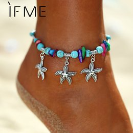 Colorful stone braCelets online shopping - IF ME Bohemian Starfish Colorful Beads Stone Anklets for Women Vintage Pendant Bracelet on Leg Anklet Beach Ankle Jewelry New