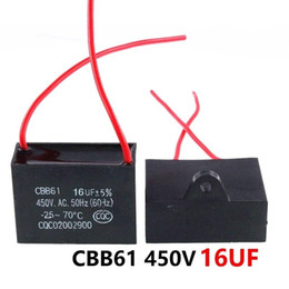 fans capacitors UK - CBB61 450VAC 16UF fan starting capacitor lead length 10cm with line