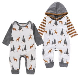 Toddler Christmas Boy Australia - Mikrdoo Toddler Newborn Baby Boys Christmas Romper Hooded Clothes Deer and Christmas Tree Print Long Sleeve Jumpsuit Clothing