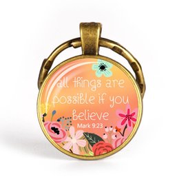 faith plates NZ - New Christian Keychain Glass Pendant Bible Verse Key Chains Spiritual Quote Antique Bronze Key Ring Scripture Faith Jewelry
