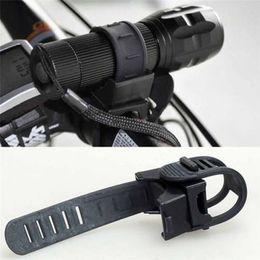 Swivel Flashlight Clamp Australia - 360 Degree swivel head Cycling Bicycle Bike Mount Holder LED Flashlight Torch Clip Clamp Adjustable belt durable Rubber Black 3N #257334