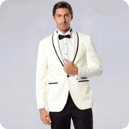 Satin Evening Suit NZ - New Latest Coat Pant Designs Beige Groom Tuxedos Man Wedding Suits Man Blazers Jacket Costume Homme Shawl Lapel Black Side Evening Party 708