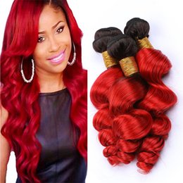 Two Tone Wavy Hair Australia - Dark Roots Red Ombre Virgin Hair Bundles Deals Two Tone 1B Red Ombre Loose Wave Wavy Peruvian Human Hair Weave Wefts Extensions 300g
