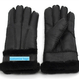 men gloves leather sheepskin NZ - Free Shipping Winter Gloves 100% Pure Sheepskin Men and Women Couples Real Sheepskin Cashmere Warm Full Finger Leather Gloves T191112