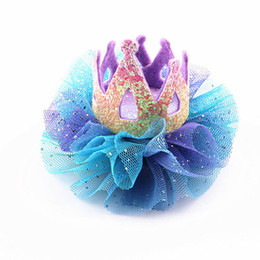 Baby Sequin Hair Clips Wholesale UK - New crown girls hair clips lace floral kids barrettes princess glisten baby BB clips sequin girls Hairclips designer hair accessories A5636