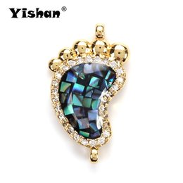 Micro Pave Connectors Australia - Yishan Fashion Micro Pave Foot Copper Pendant For Necklace&Bracelet Connection Women Gift Jewelry Accessories EY5021