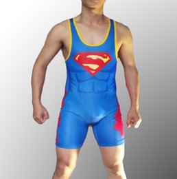 e309dbc07bc5d Wrestling Singlets Spandex NZ - Man Superman Wrestling Singlet Aerotics  Weight Lifting Suit in Men Tights