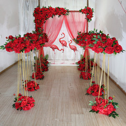 Discount wedding backdrops props Wedding Backdrops Props Gold Tripod Road Lead Wrought Iron Frame Simulation Floral Wedding Decoration Area Layout Flower