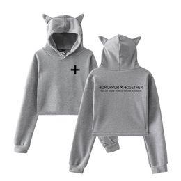 top clothing trends 2019 - drop shopping 2019 New TXT 2D fashion trend sala Cat Crop Top Women summer Hoodies Sweatshirt Sexy hot clothes discount
