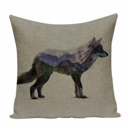 decorative beds NZ - Scenic Wild animals cushion cover wolf bear Car Beds Gift pillow cover linen print pillow covers decorative Custom throw pillows