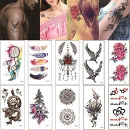 tattoo words designs NZ - 9*19cm FF Lotus Flower Eagle Temporary Tattoo Design Body Art Transfer Paper Words Alphabet Snake Love Tattoo Sticker for Woman Man Kids Hot
