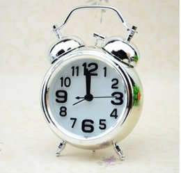 Wholesale Alarm Clock Vintage Retro Silent Pointer Clocks Round Number Dual Bell Loud Alarm Clock Bedside Night Light Home Decors