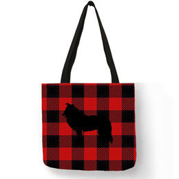 $enCountryForm.capitalKeyWord Australia - Personalized Classic Design Women Tote Bag Grid Collie Dog Silhouette Print Fashion Handbag Durable Linen Casual Bags