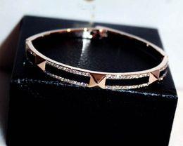 $enCountryForm.capitalKeyWord Australia - super glittering shining ! New fashion ins luxury designer diamond bangle bracelet for woman girls 18cm rose gold