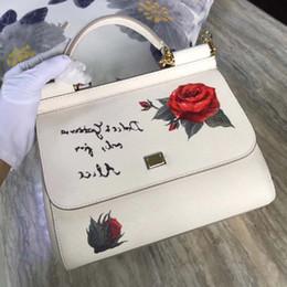 Cowskin Handbags Australia - Famous Luxury Woman Bags Designer Brands Shoulder Bag Rose Print Flowers Handbags Genuine Cowskin Leather Tote Bags Sac A Main