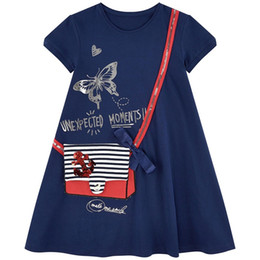 EmbroidErEd linE flowEr girl drEss online shopping - Baby Girl Embroidery Party Dress Animals Striped Princess Children Clothing Flowers Printed Summer Girl Dress T