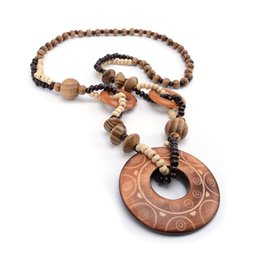 Exotic Pendants Australia - Magic Sun lines Hand Carved Exotic Hollow Round Woody Beaded Pendant Necklace Fashion Jewelry for Women Birthday Gift Present