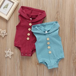 summer sleeveless hoodie NZ - INS Infant Baby Boys Girls Blank Rompers Hoodies Summer Sleeveless Front Buttons Cotton Newborn Boys Jumpsuits Bodysuits Onesies 0-2T