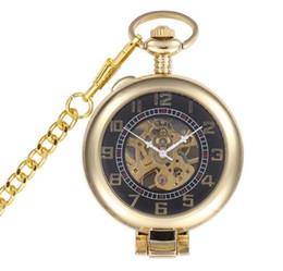 $enCountryForm.capitalKeyWord Australia - 10pcs lot Vintage Gold Standable Mechanical Pocket Watch Retro Skeleton Magnifier Men Steampunk Mechanical pocket Watch
