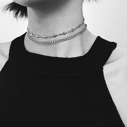 wholesale metal chokers UK - HUANZHI New Double Layer Minimalist Cross Silver Colour Metal Choker Clavicle Chain Necklace for Women Girls Party Accessory