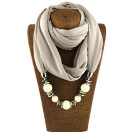 Scarfs Cotton Australia - Plain multicolor fashion design scarf jewelry necklace beads pendant women's scarf free shipping