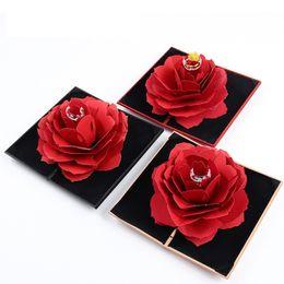 Складная роза кольцо коробка для женщин романтическое предложение 2019 творческий ювелирный кейс для хранения небольшой подарочной коробке для колец бесплатная доставка C6372 на Распродаже