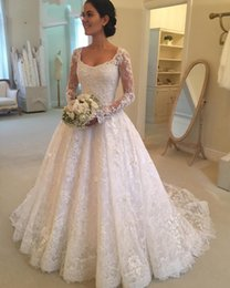 Wholesale Latest Hot Sale Scoop Neck A line Long Sleeve Lace White Wedding Dresses Button Back Appliques Beaded Bridal Wedding Gowns DH4009
