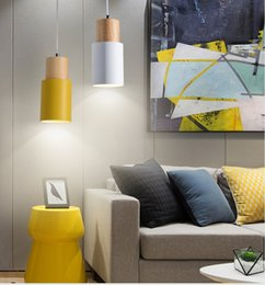 Colorful Kitchens Australia - Designer Nordic simple Wood Pendant Lights led hang lamp Colorful Aluminum fixture Kitchen Island bar hotel home decor E27