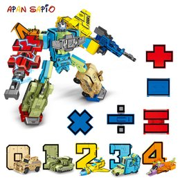 number blocks Canada - 10PCS Transformation Number Robot Toy Building Blocks Deformation Pocket Morphers Educational Action Figure Toy for Children LY191210