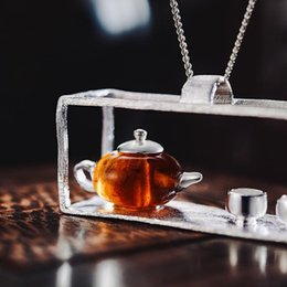 amber necklace women Canada - Lotus Fun Real 925 Sterling Silver Handmade Fine Jewelry Natural Amber Original Teapot Design Pendant Without Necklace For Women Y19051602