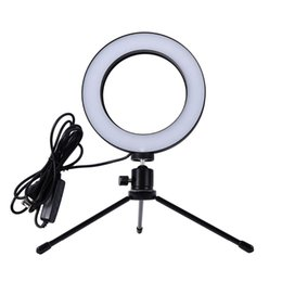 Mini live caMera online shopping - 2018 New Mini Photo Studio LED Camera Ring Light Dimmable Phone Video Phtography Lamp With Tripod Selfie Stick for Live Makeup Lighting
