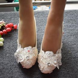 $enCountryForm.capitalKeyWord Australia - 5CM middle heel lace crystal white wedding shoes bride butterfly ornament ladies bridesmaid med heel pump lace dress shoe
