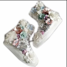 korean ladies canvas shoes UK - New high-top thick canvas Korean version of heavy industry rhinestone flower sequins sweet ladies princess cloth shoes