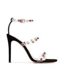 Fairy2019 Webster Sophia Прозрачный ПВХ-пленка Toe One Word Принесите туфли на высоком каблуке Прекрасные супер высокие с сандалиями Женщина на Распродаже