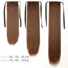 $enCountryForm.capitalKeyWord Australia - Manufacturer wholesale long straight hair horsetail lady tied with lifelike fake horsetail mid-length horsetail braid piece
