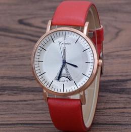 Watches eiffel toWer online shopping - New Luxury Women Quartz Wristwatch The Eiffel Tower Rose Gold Shell Leather band Men Wrist Watch Female Clock