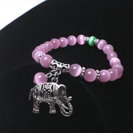 $enCountryForm.capitalKeyWord NZ - Green, pink women Bracelets & Bangles Ancient silver elephant with cat eye stone Charm Bracelets trendy jewelry dropshipping
