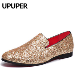 Gold Casual Shoes Men Australia - Pointed Toe Oxfords Shoes For Men Casual Fashion Nightclub Bars Party Superstar Shoes Slip-on Gold Sequin Wedding Mens Loafers