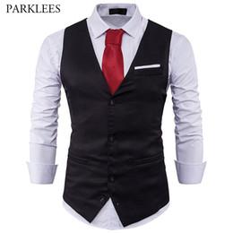 c4c81209c30 Mens Suit Vest 2017 Sleeveless Male Waistcoat Slim Fit Vest Waistcoat  Business Wedding Classic Colete Masculino Social Blazer J190422
